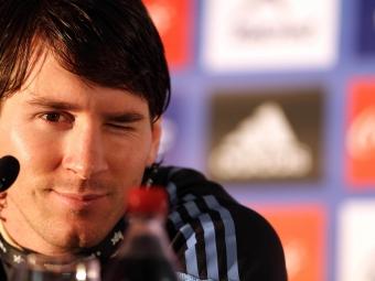 Messi en una conferencia de prensa en el Mundial de Sudáfrica.